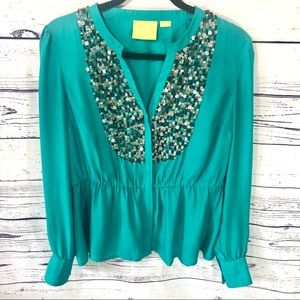 Maeve by Anthropologie Peplum Style Blouse Medium